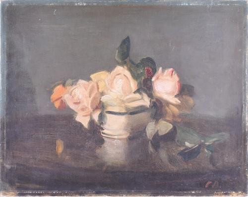 Lot 14-C.A. English School, Still Life, roses in a...