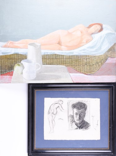Lot 21-20th century school, portrait of a recumbent...