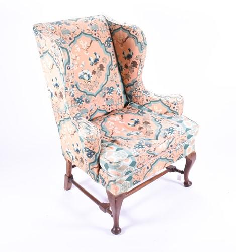 Lot 97 - A Georgian style mahogany wing armchair,...