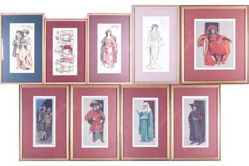Lot 67-A group of nine costume designs for 'La...