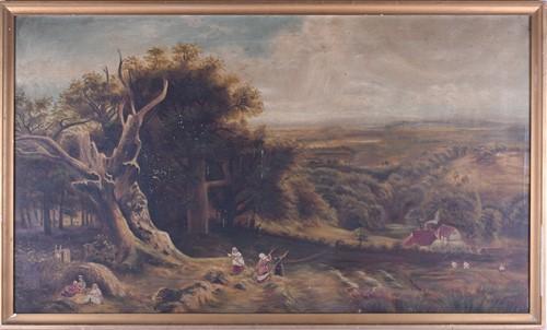 Lot 36-19th century English school, the hay harvest,...