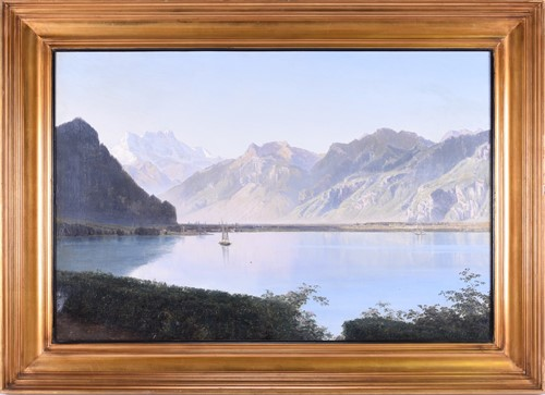 Lot 70-A Continental lake scene, with a sailing boat...