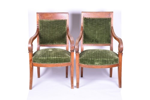 Lot 81 - A pair of Regency style walnut armchairs, with...