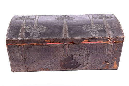 Lot 89 - A 18th century domed top, leather bound and...