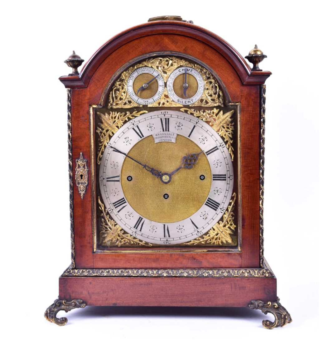 Lot 511-A late 19th century mahogany cased bracket clock...