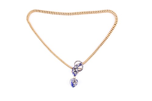 Lot 608-A Victorian yellow gold, diamond, and enamel...