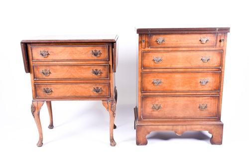 Lot 90 - A reproduction walnut veneered bachelors chest...