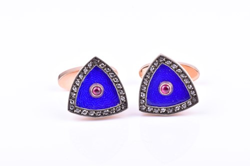 Lot 811 - August Hollming. A pair of rose gold, diamond,...