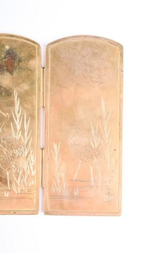 Lot 172-A good Japanese bronze and shakudo miniature...