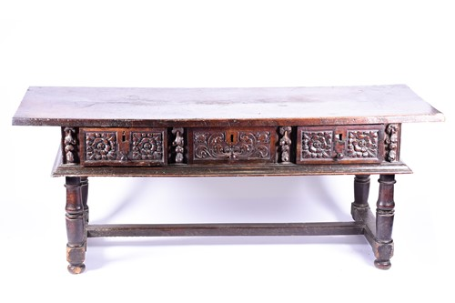 Lot 86 - A large 17th / 18th century oak hall table,...