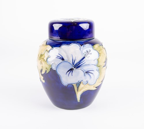 Lot 60-A Moorcroft Hibiscus pattern ginger jar and...