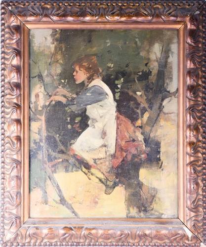 Lot 74 - Hugh Munro (1873-1928) Scottish, a young girl...