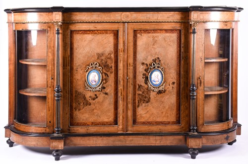 Lot 144 - A 19th century figured walnut credenza with...