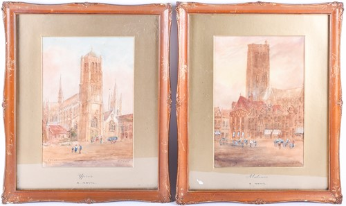 Lot 40 - Edward Nevil (British, fl: 1880 - 1900) 'Ypres'...