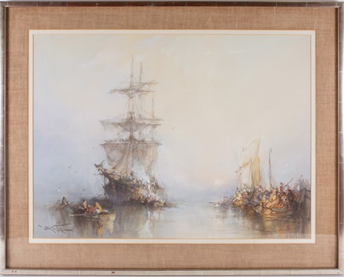 Lot 84-An early 20th century watercolour of a sailing...