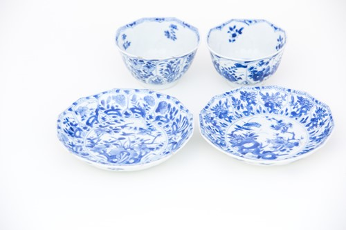 Lot 34-A near pair of Chinese blue & white petal...