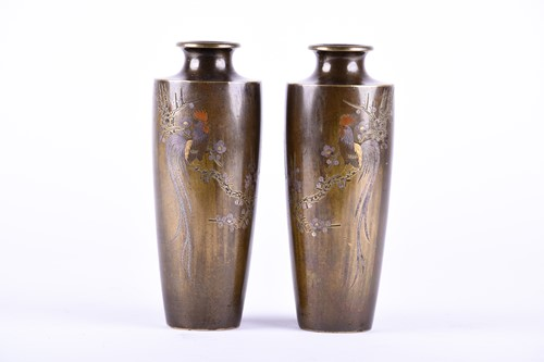 Lot 40-A pair of Japanese inlaid bronze vases, late...