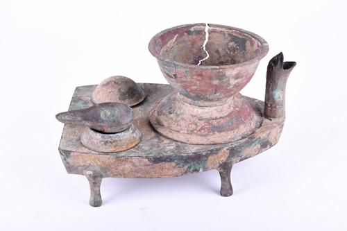 Lot 41-A Chinese boat shape bronze stove, Tzau, Han...