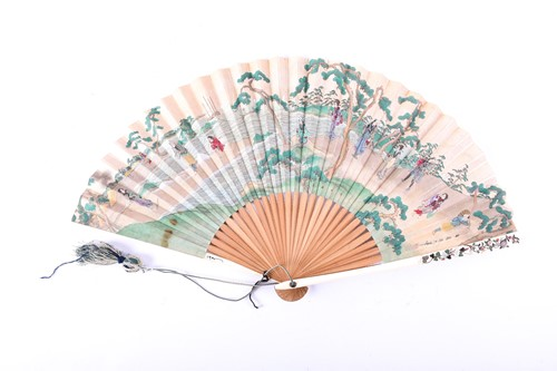 Lot 15-A Japanese ivory Shibayama fan, Meiji Period,...