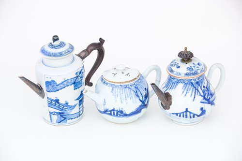 Lot 33-A Chinese blue & white wine pot and two...