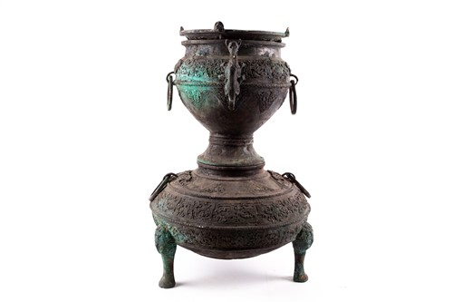 Lot 14-A Chinese bronze Xian, Han Dynasty, the upper...