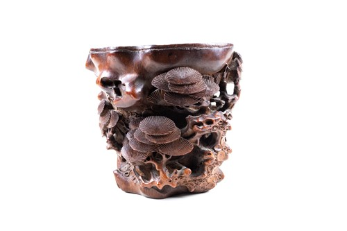 Lot 45-A good Chinese carved bamboo brush pot, Ming...