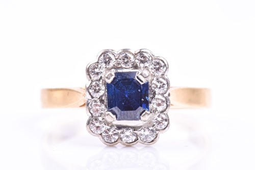 Lot 37 - An 18ct yellow gold, diamond, and sapphire...