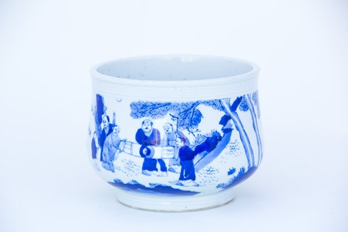 Lot 43-A Chinese blue & white censer, late Qing, of...