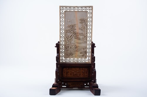 Lot 5-A Chinese carved ivory table screen, 17th/18th...