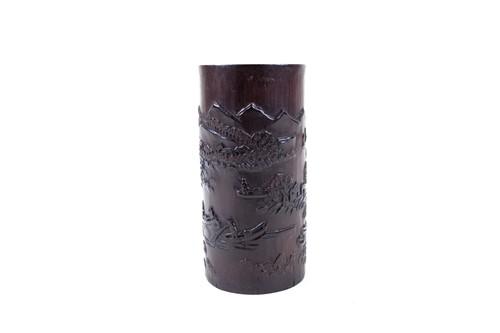 Lot 28-A Chinese carved bamboo bitong (brush pot),...