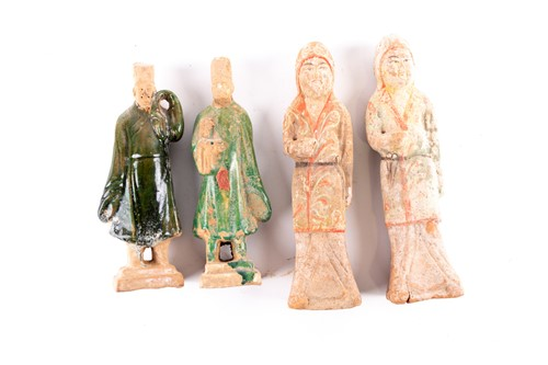Lot 4-Two pairs of Chinese pottery tomb figures,...