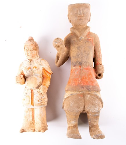 Lot 3-Two Chinese pottery tomb guardians, Tang...