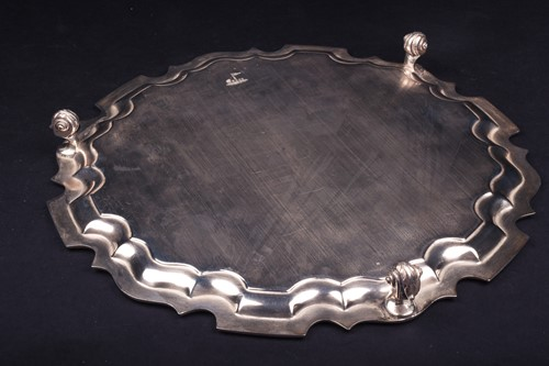 Lot 8-A mid-20th century silver salver, Sheffield...