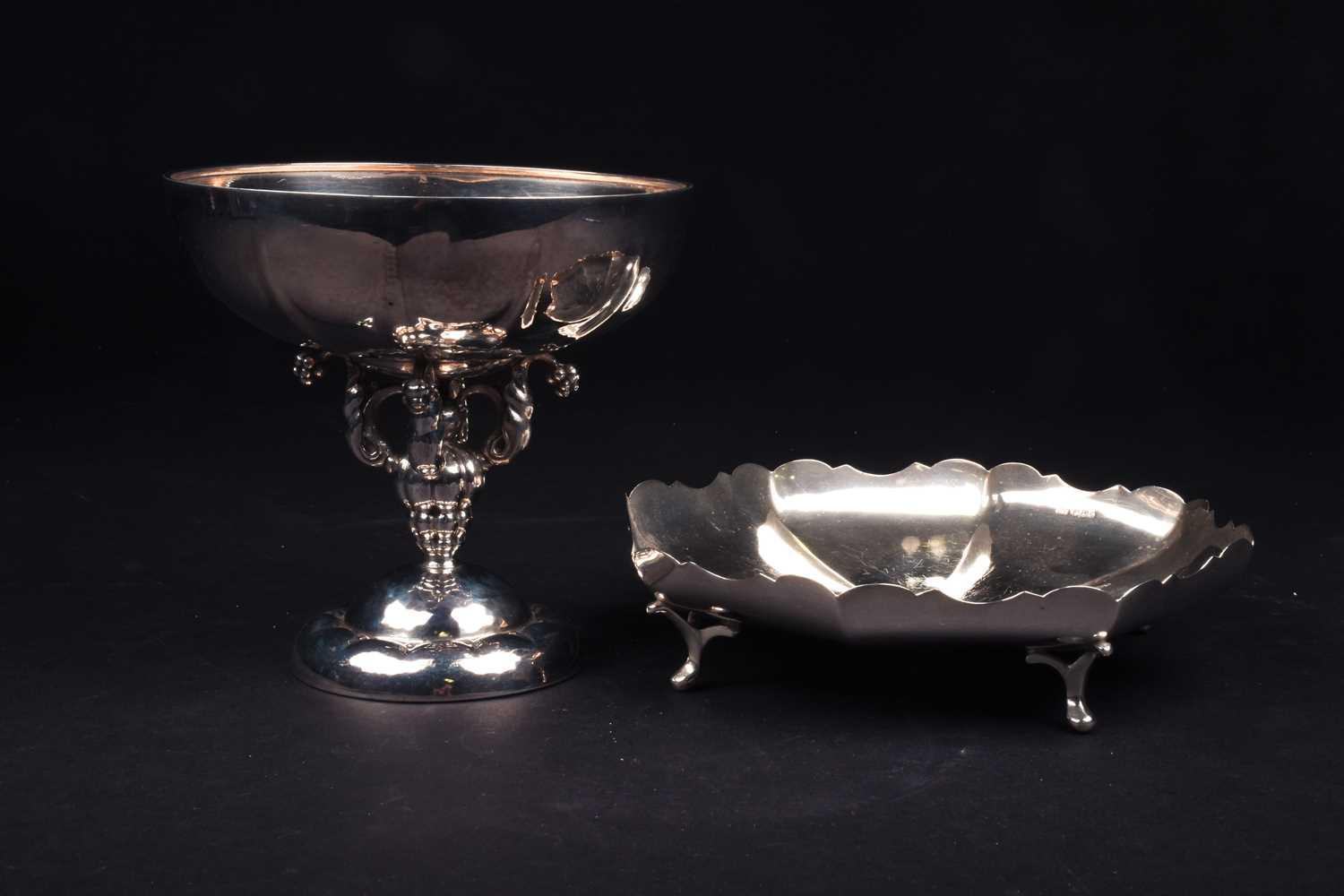 Lot 45-A Continental silver pedestal bowl, marked...