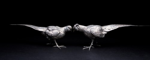 Lot 43-Two large Spanish silver pheasants, circa 1960'...