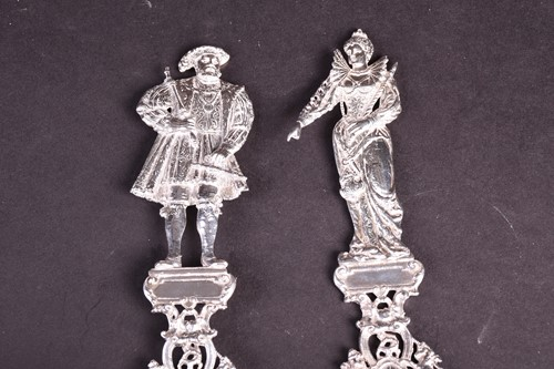 Lot 42-A pair of German Hanau silver figural spoons,...