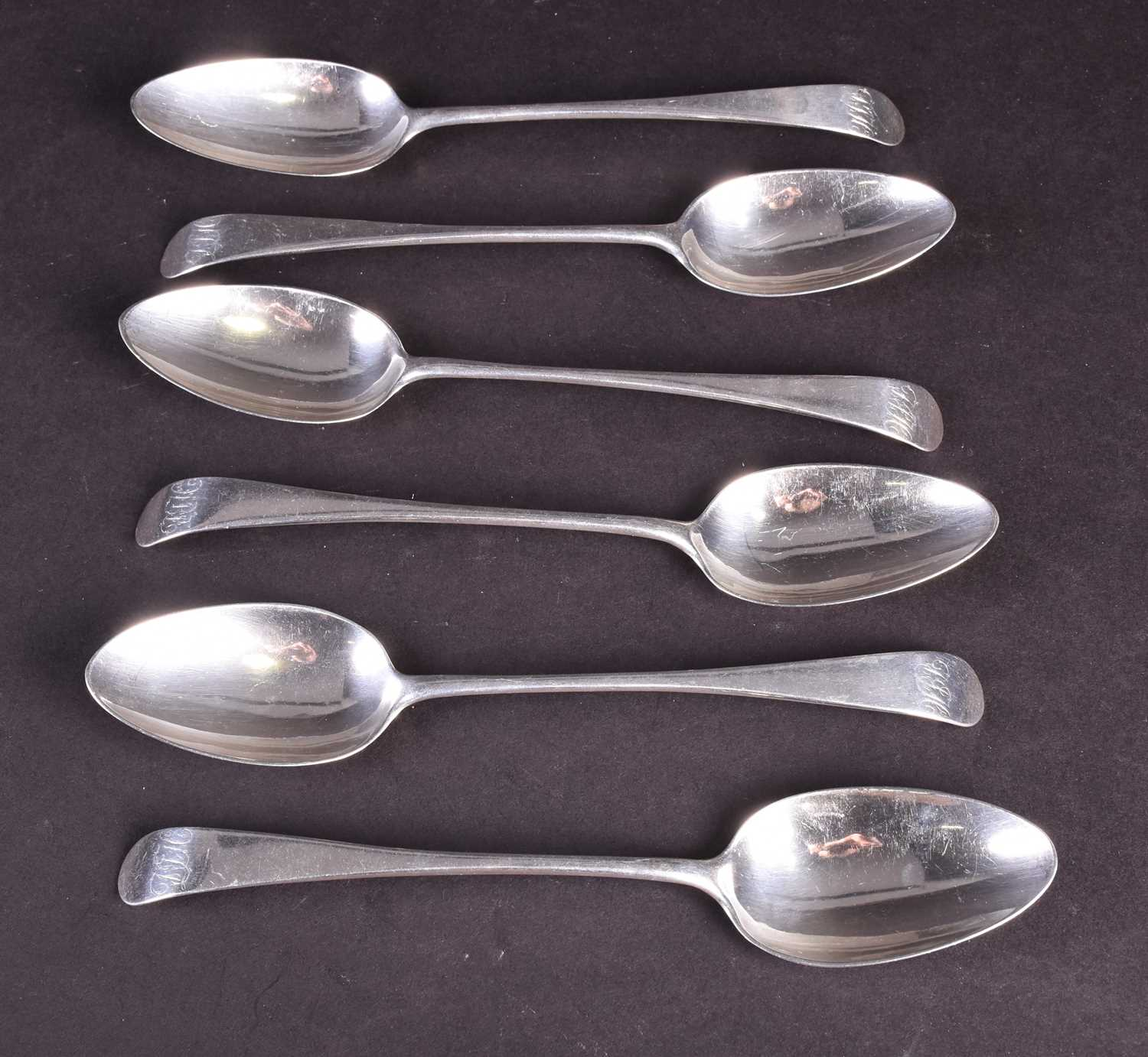Lot 30-A set of six Scottish silver tablespoons,...