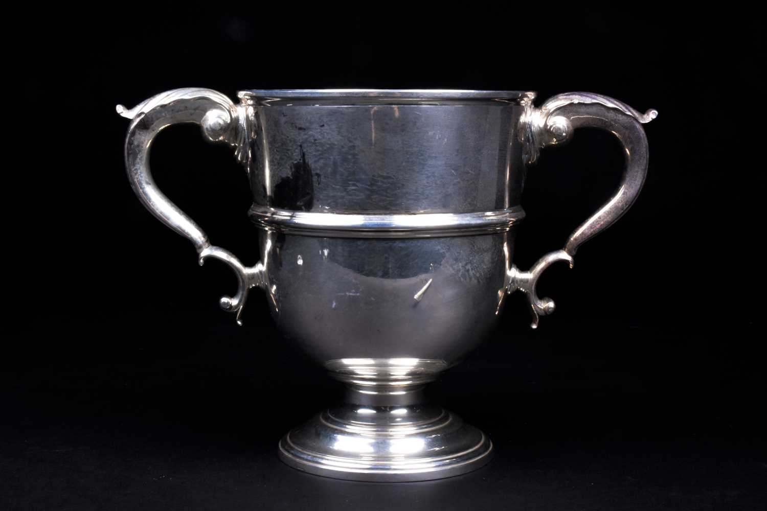 Lot 1-A George V silver twin-handled trophy, London...