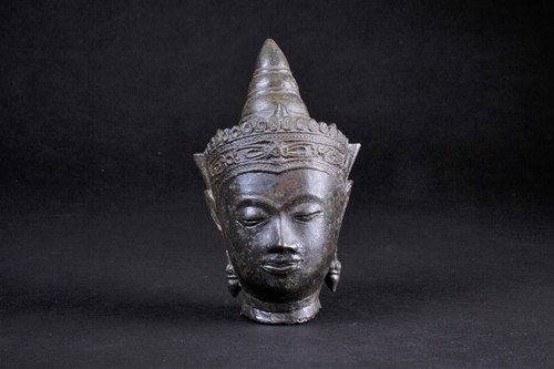 Lot 45 - A Cambodian bronze bust of Buddha, 19th...