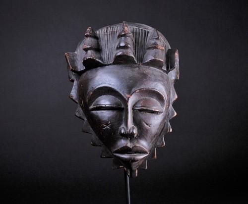 Lot 44 - A Baule female mask, Ivory Coast, with...