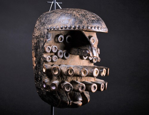 Lot 74 - A Grebo Kru mask, Liberia, the pronounced brow...