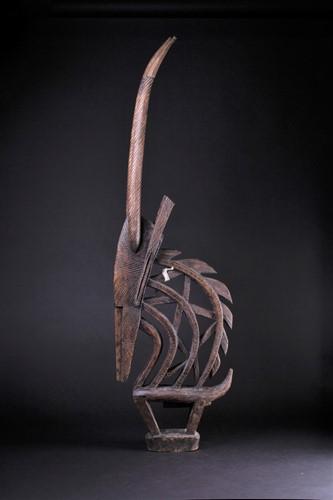Lot 46 - A Bamana antelope headdress, Mali, with chip...