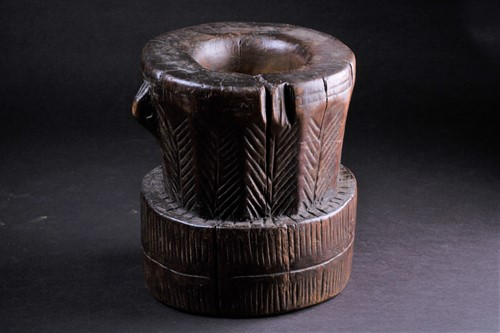 Lot 52 - An Oromo carved wood mortar, Ethiopia, a...