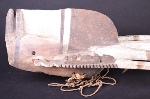 Lot 25 - A Dogon mask, Mali, with two tall central...