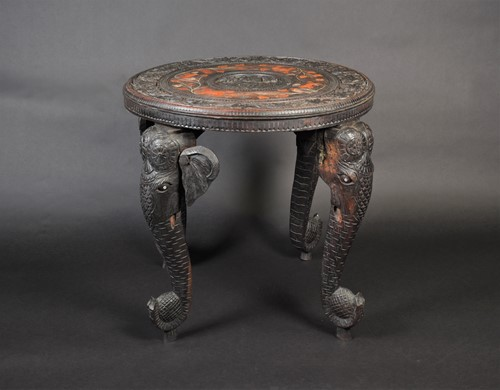 Lot 66 - An Indian carved and inlaid hardwood...