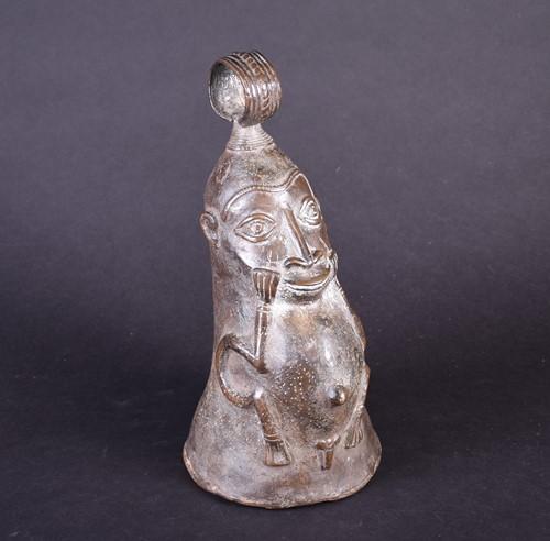 Lot 91 - A Yoruba bronze bell, Nigeria, with loop...