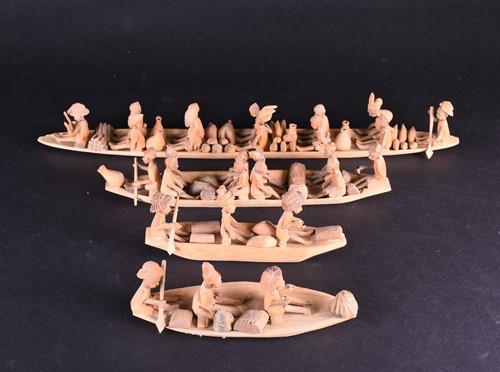 Lot 86 - Four Ibadan boating groups, Kenya, each boat...