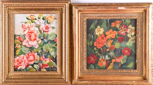 Lot 21 - Beatrice Langdon (1898-1986), 'Nasturtiums',...