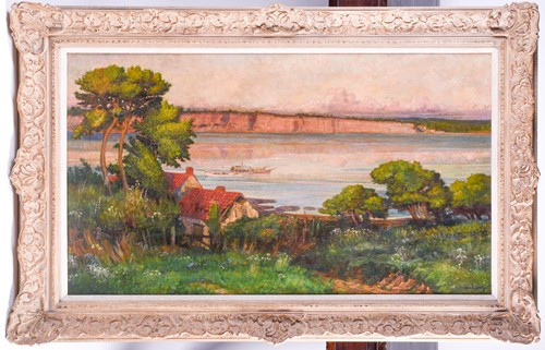 Lot 28 - 20th century school, a river landscape in...
