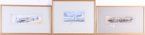 Lot 30 - Three watercolours of vintage WWII period...